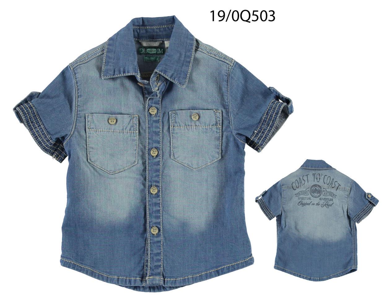 1b363697a1 Camicia a manica corta in jeans elasticizzato lavato per bambino da 6 mesi  a 7 anni Sarabanda