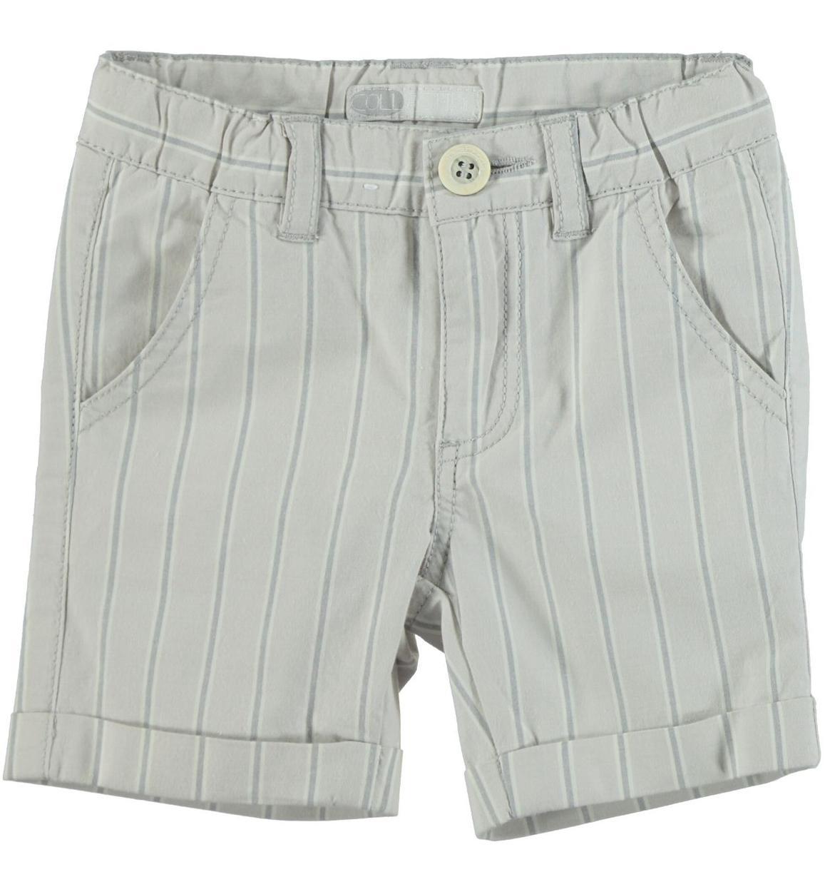 7189c2e5d3 Pantaloncino rigato in popeline stretch di cotone tinto filo per bambino da  6 mesi a 7 anni Sarabanda