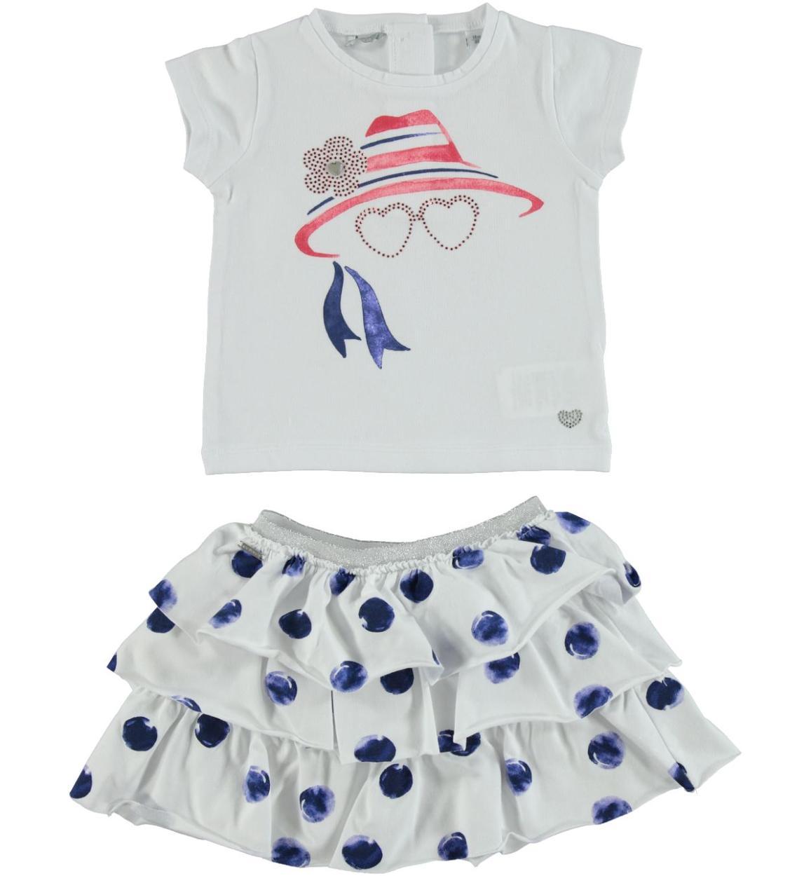 197a6e8626299 Estivo e grazioso completo in jersey stretch di cotone per bambina da 6  mesi a 7 anni Sarabanda