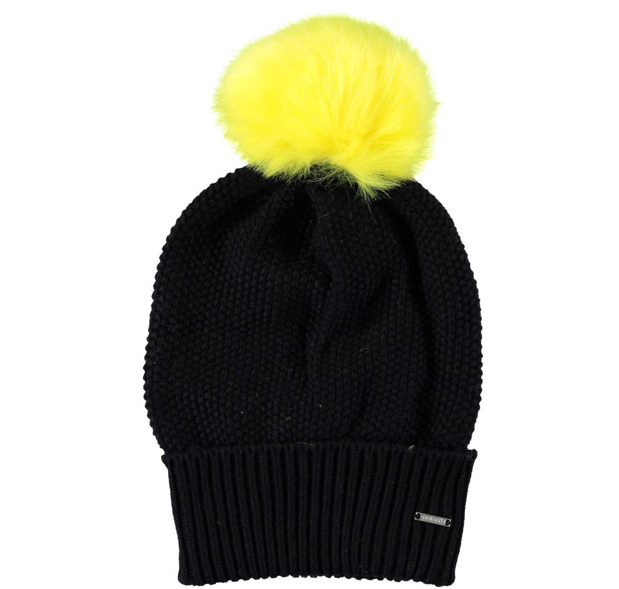 Cappello modello cuffia con pon pon per bambina da 6 a 16 anni Sarabanda.  GIALLO-1433 back. NERO-0658 f0e2d6c0e54b