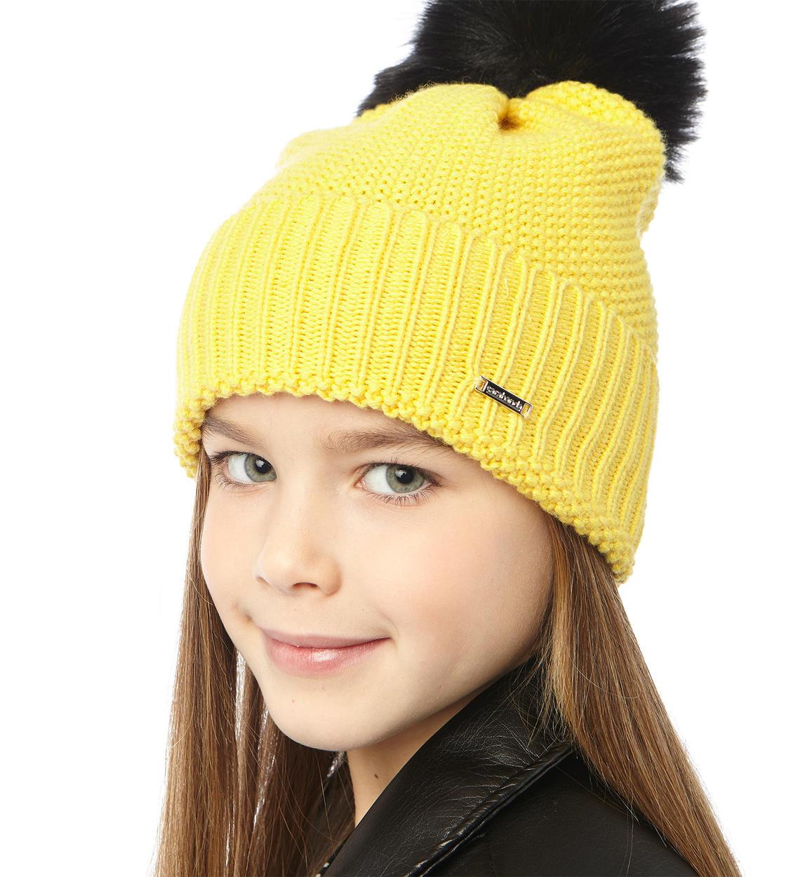 Cappello modello cuffia con pon pon per bambina da 6 a 16 anni Sarabanda.  GIALLO-1433 back. NERO-0658. GRIGIO MELANGE-8992. BLU INDIGO-3647. GIALLO- 1433 051c1966f5a3
