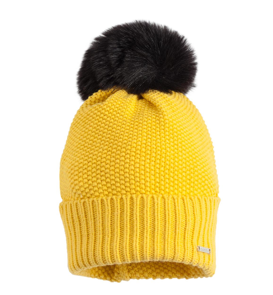 Cappello modello cuffia con pon pon per bambina da 6 a 16 anni Sarabanda.  GIALLO-1433 back e6d02be3c132