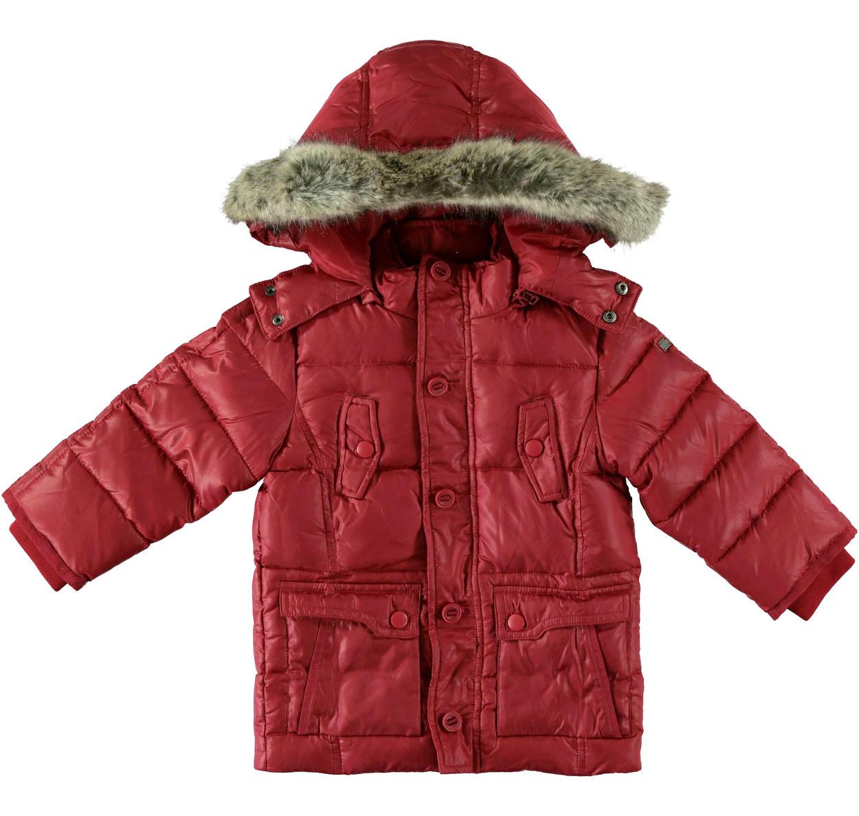 huge discount 2a43e 211a4 Piumino in vera piuma d'oca con cappuccio e pelliccia per bambino da 6 mesi  a 7 anni Sarabanda