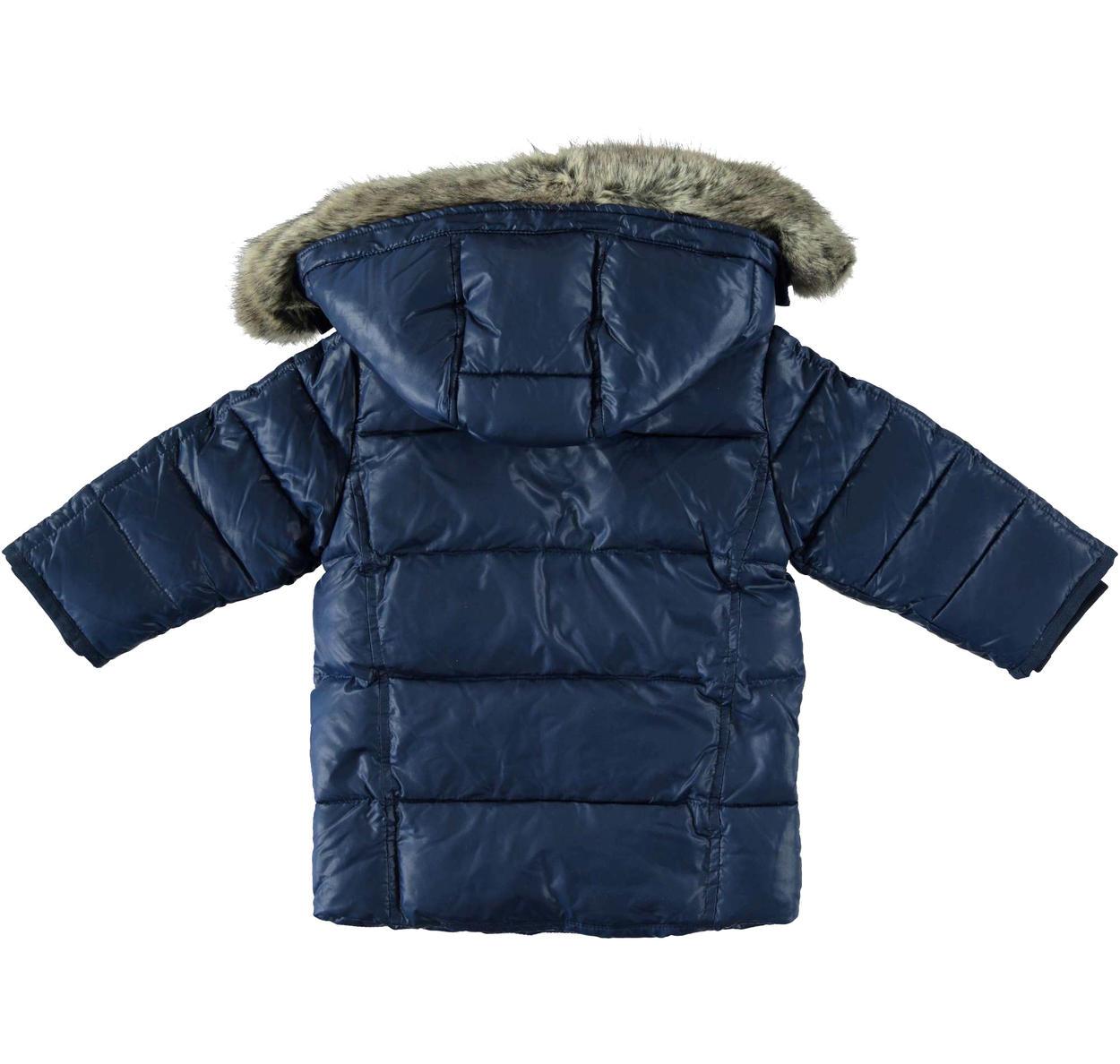Piumino in vera piuma d'oca con cappuccio e pelliccia per bambino da 6 mesi a 7 anni Sarabanda