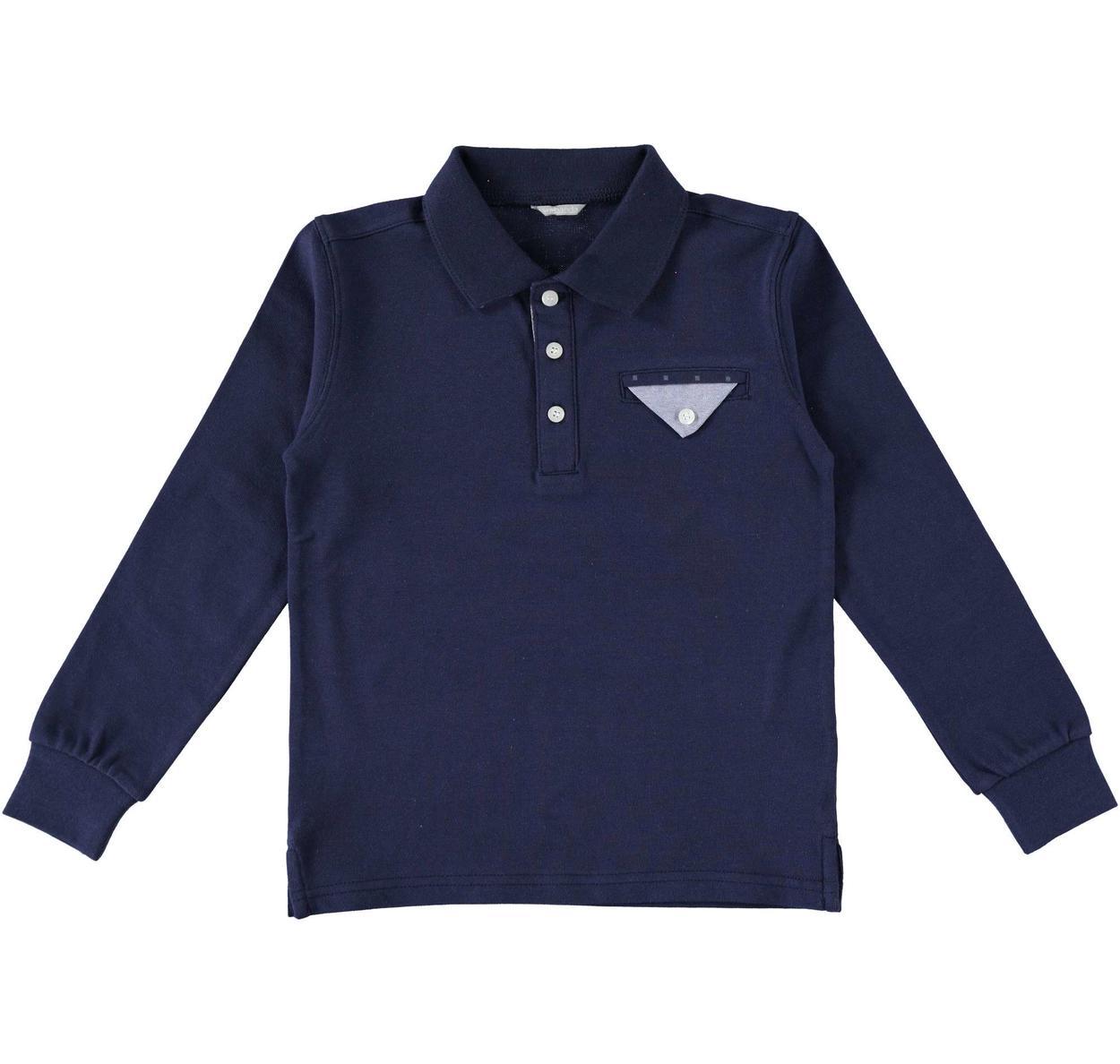 super popular a7aaf fa137 Polo a manica lunga con taschino in oxford per bambino da 6 a 16 anni  Sarabanda