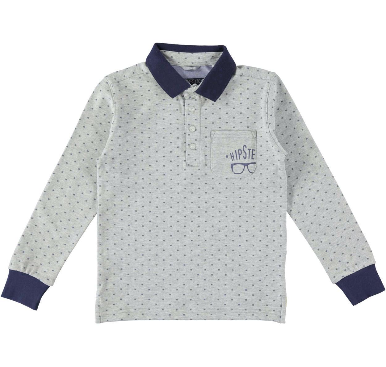 62278d29f630 Polo a manica lunga stampa hipster con sotto colletto a contrasto per  bambino da 6 a 16 anni Sarabanda