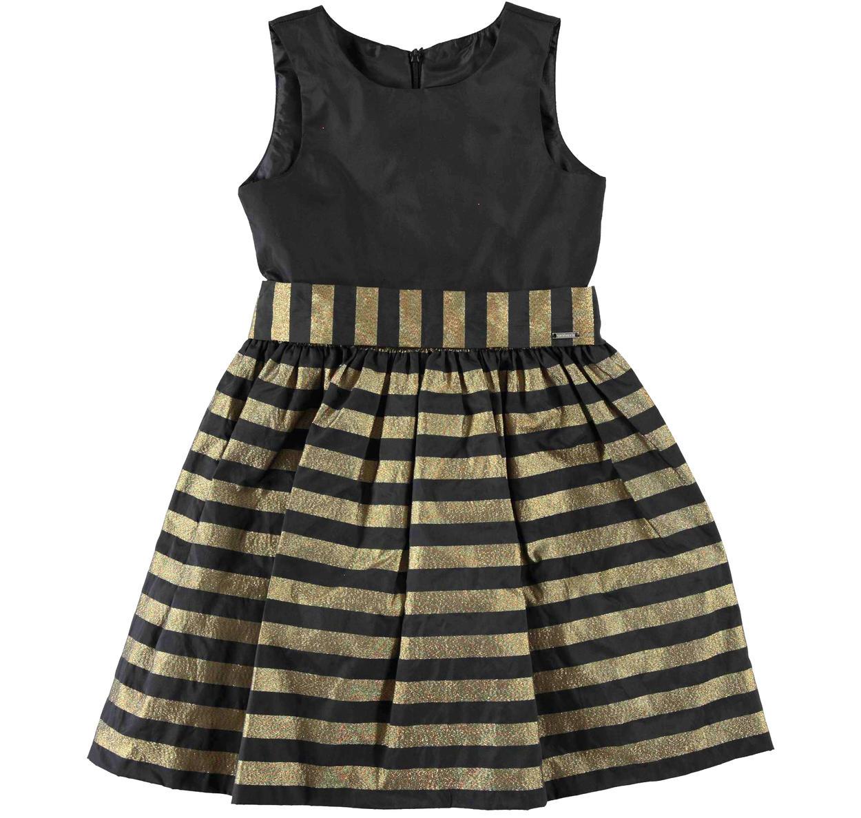 Importante abito in taffetà fantasia a righe per bambina da 6 a 16 anni  Sarabanda. ORO-1154 83e2aa58d2f