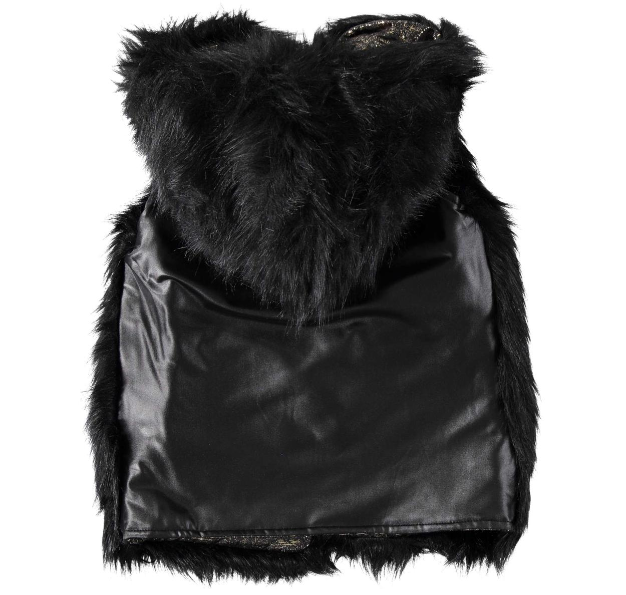 Gilet in eco pelliccia con spalle in eco pelle per bambina da 6 a 16 anni  Sarabanda. PANNA-0112. NERO-0658 back. 5a52b61c6ea