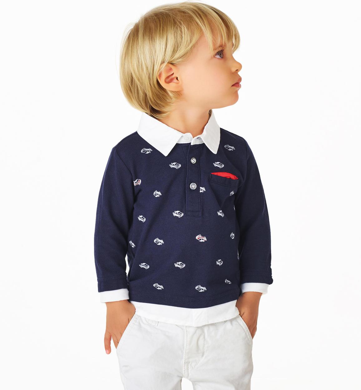 9e289b081a12 Polo in piquet 100% cotone con inserto finta camicia per bambino da 6 mesi  a 7 anni Sarabanda