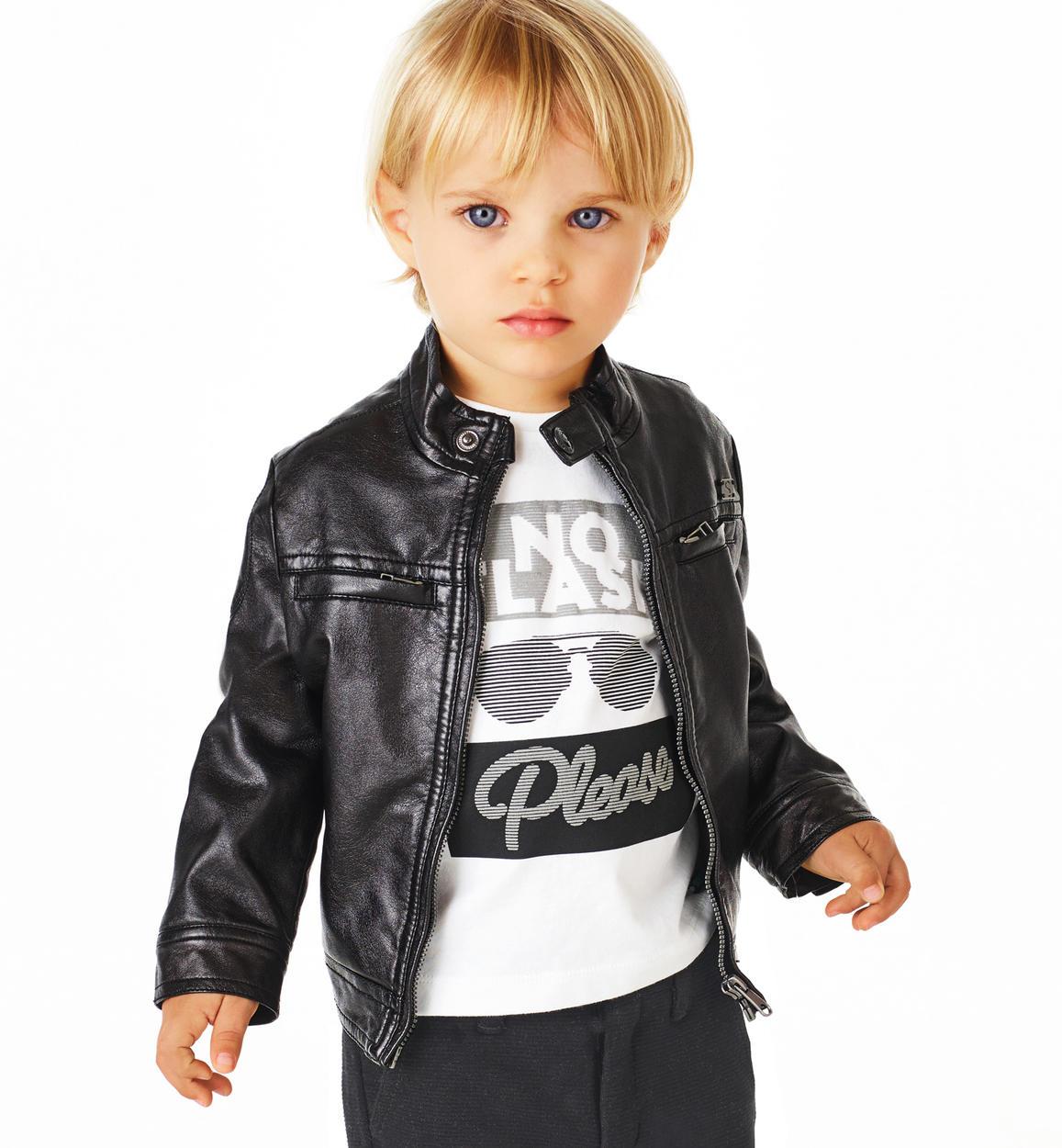 design innovativo adc2e 66de5 Giubbotto in ecopelle effetto semilucido modello biker per bambino da 6  mesi a 7 anni Sarabanda
