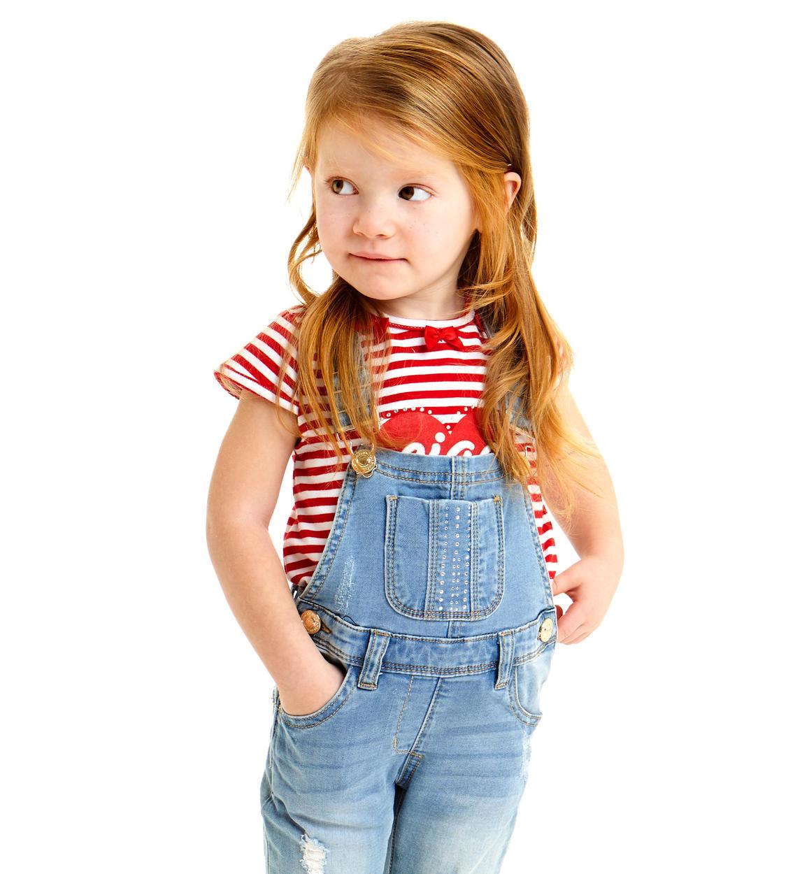 Salopette Bambina In Felpa Stretch Denim Di Cotone Vestibilita Da 6 Mesi A 7 Anni Sarabanda Miniconf Shop