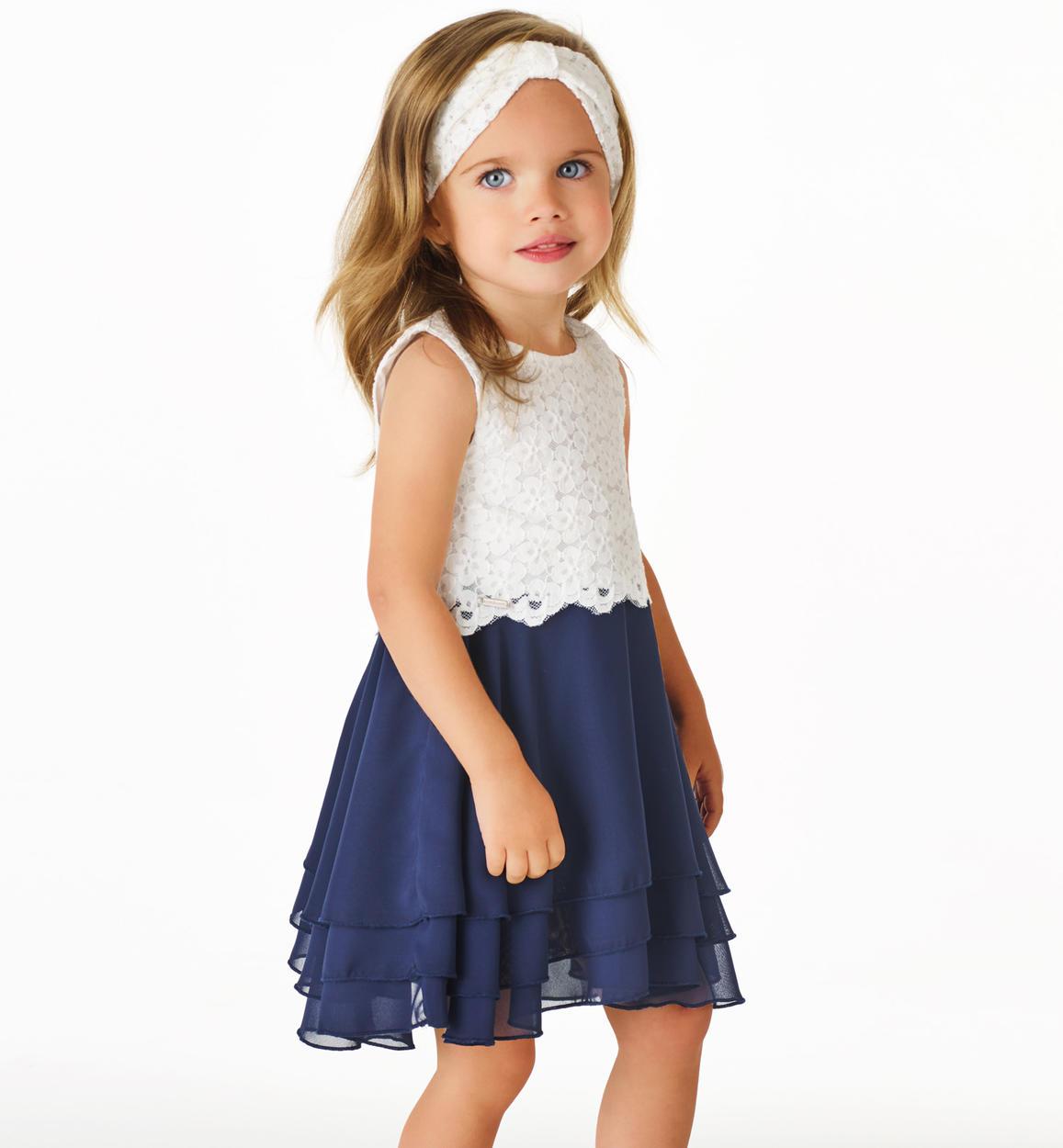 a606dcc692 Raffinato vestitino con corpino in pizzo floreale e gonna a balze per  bambina da 6 mesi a 7 anni Sarabanda