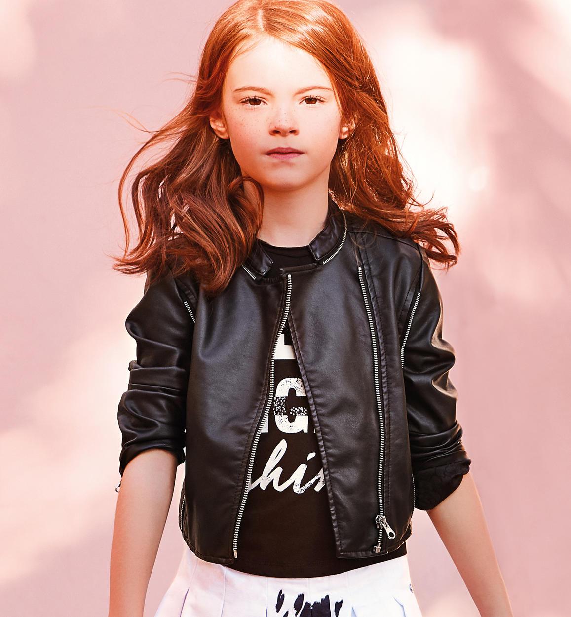 online retailer e9ce8 4ffaf Grintoso giubbotto in ecopelle modello chiodo per bambina da 6 a 16 anni  Sarabanda