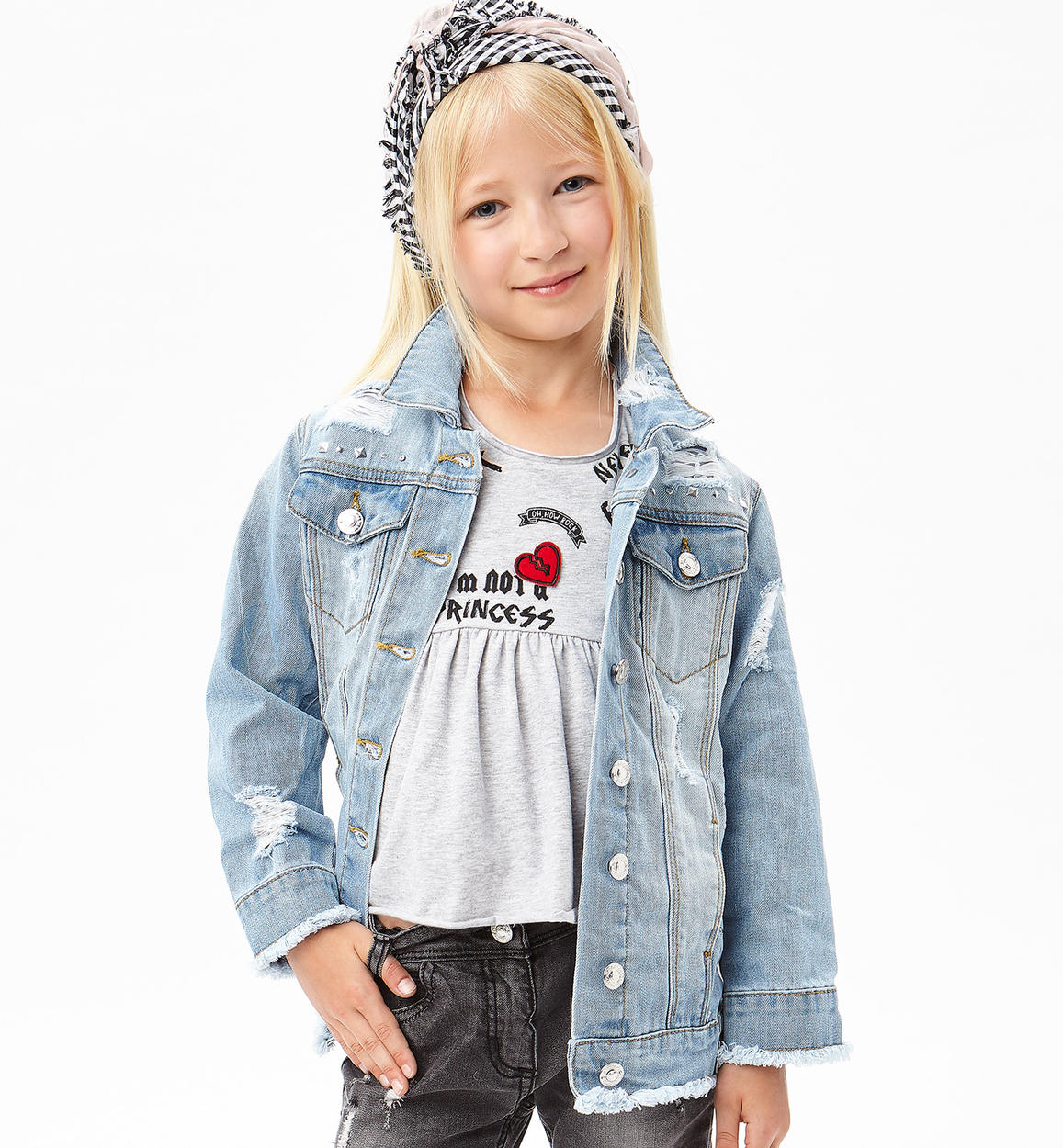 on sale 4e514 4ef72 Giubbotto jeans modello oversize con strappi e sabbiature per bambina da 6  a 16 anni Sarabanda