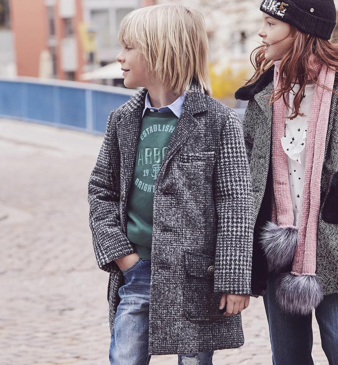 best service 3ee13 41f7c Cappotto a quadri in misto lana per bambino da 6 a 16 anni Sarabanda