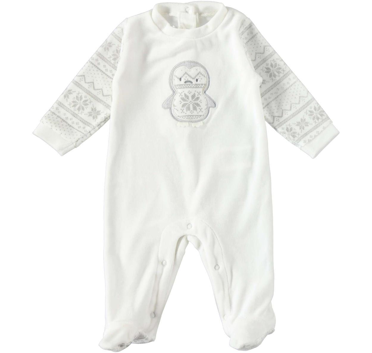 assolutamente alla moda più vicino a comprare bene Tutina con piedino in ciniglia modello unisex per neonati da 0 a 18 mesi  Mignolo