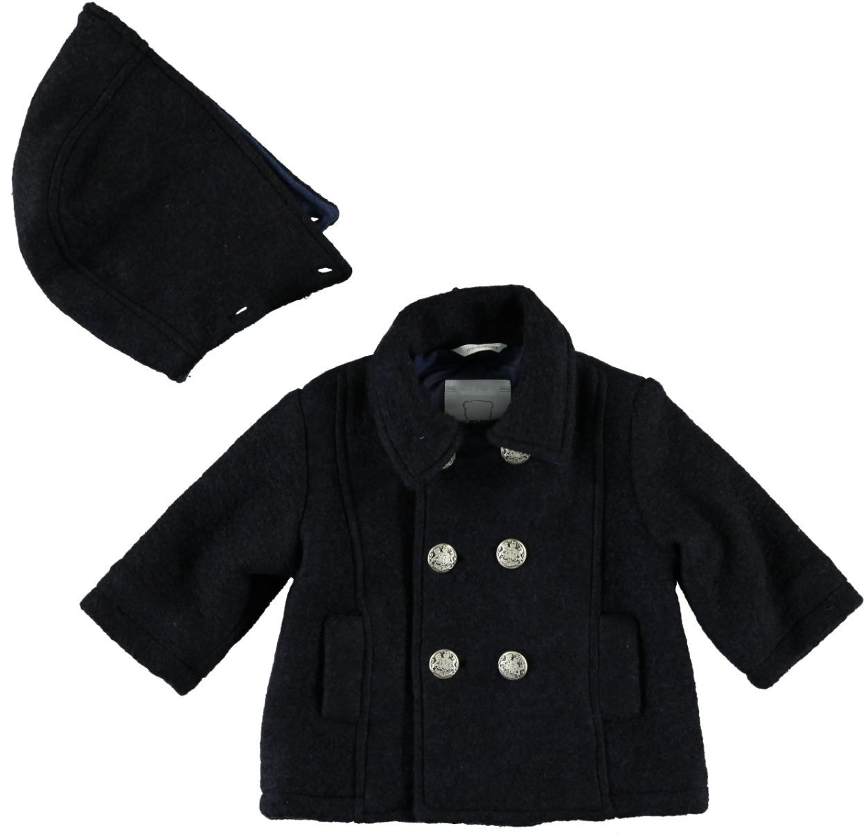 cheap for discount dfa2d ae777 Cappotto doppio petto con cappuccio staccabile