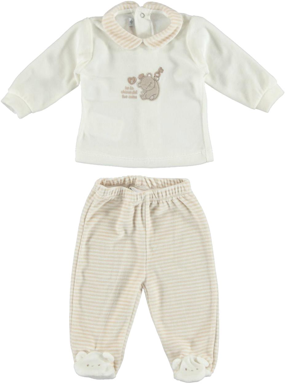 pensieri su maggiore sconto di vendita grande sconto Tutina spezzata modello unisex per neonati in ciniglia vestibilità da 0 a  24 mesi Minibanda
