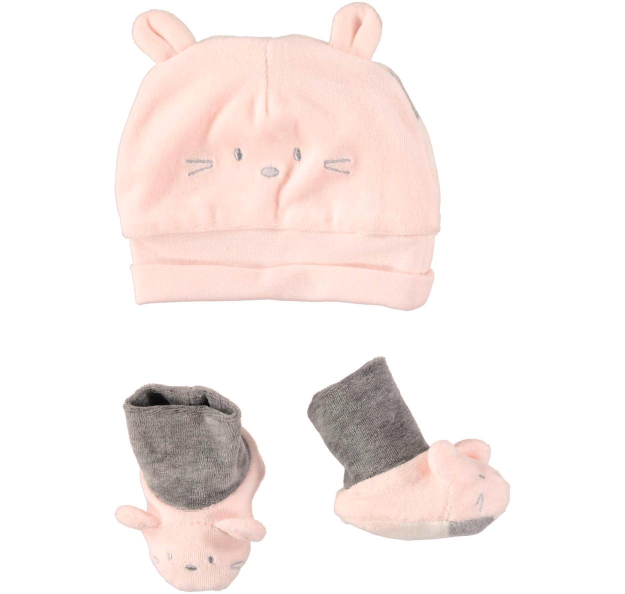 Grazioso kit unisex cappellino a cuffia e babbucce in morbida ciniglia per  neonati da 0 a 24 mesi Minibanda. ROSA-2711 616c9edc42c5