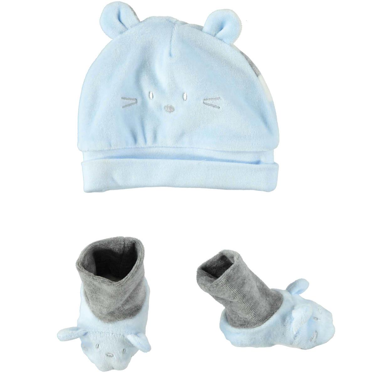 Grazioso kit unisex cappellino a cuffia e babbucce in morbida ciniglia per  neonati da 0 a 24 mesi Minibanda. ROSA-2711. SKY-5818. 02f85bcd59ad