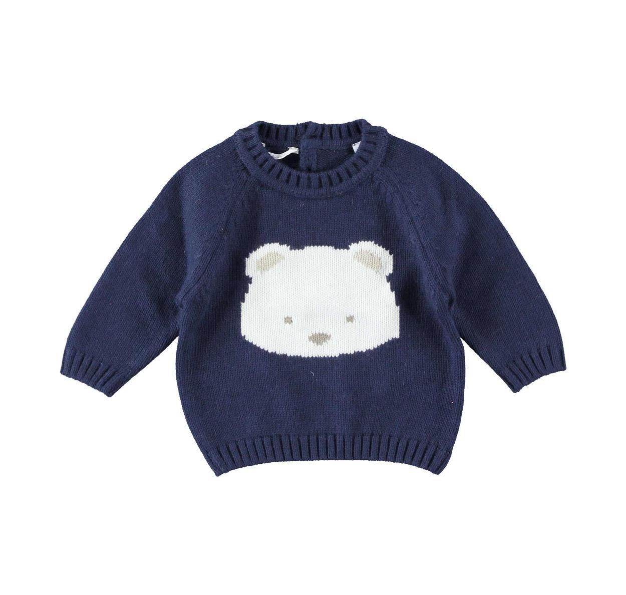Eccezionale Maglioncino misto tricot con orsetto per neonato da 0 a 24 mesi JW09