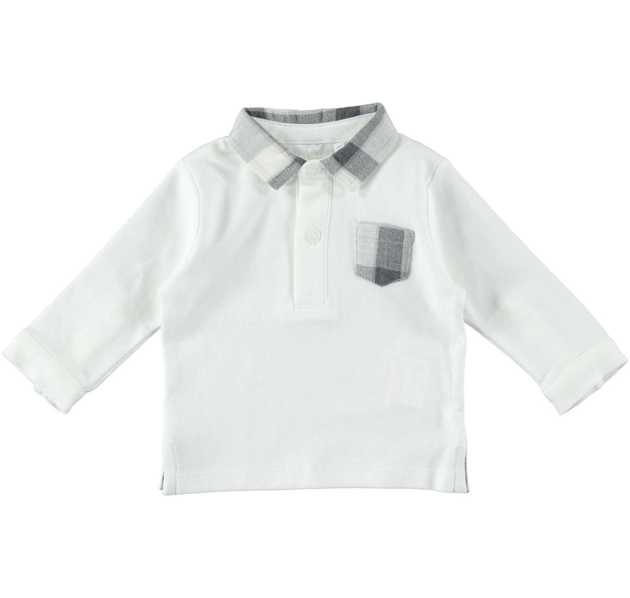 the latest 344da 07b26 Polo a manica lunga 100% cotone con colletto e taschino a quadri per  neonato da 0 a 24 mesi Minibanda