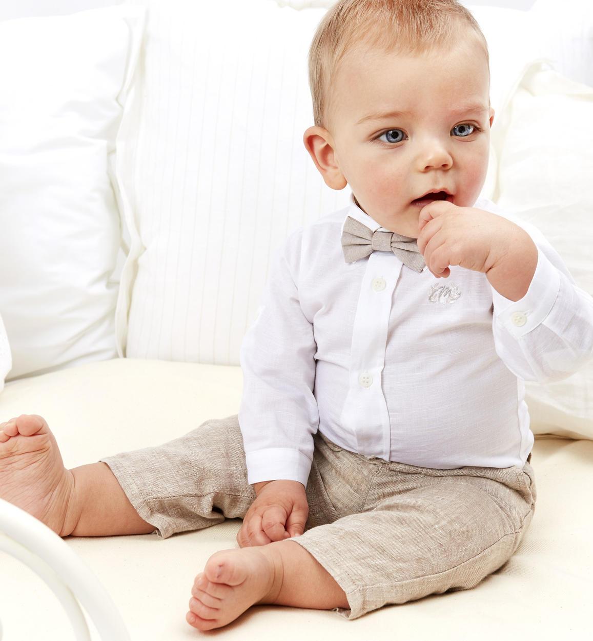 reputable site ed07b 7968c Elegante camicia neonato in misto cotone e lino vestibilità da 0 a 24 mesi  Minibanda