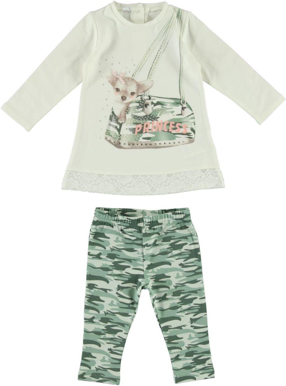 Completo neonato Steven e Co tre pezzi maglia con cappuccio aperta con bottoni e alamari realizzata.