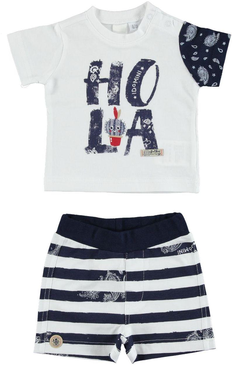 Completo t-shirt e short a righe 100% cotone per neonato da 0 a 18 mesi iDO 86331a334e13