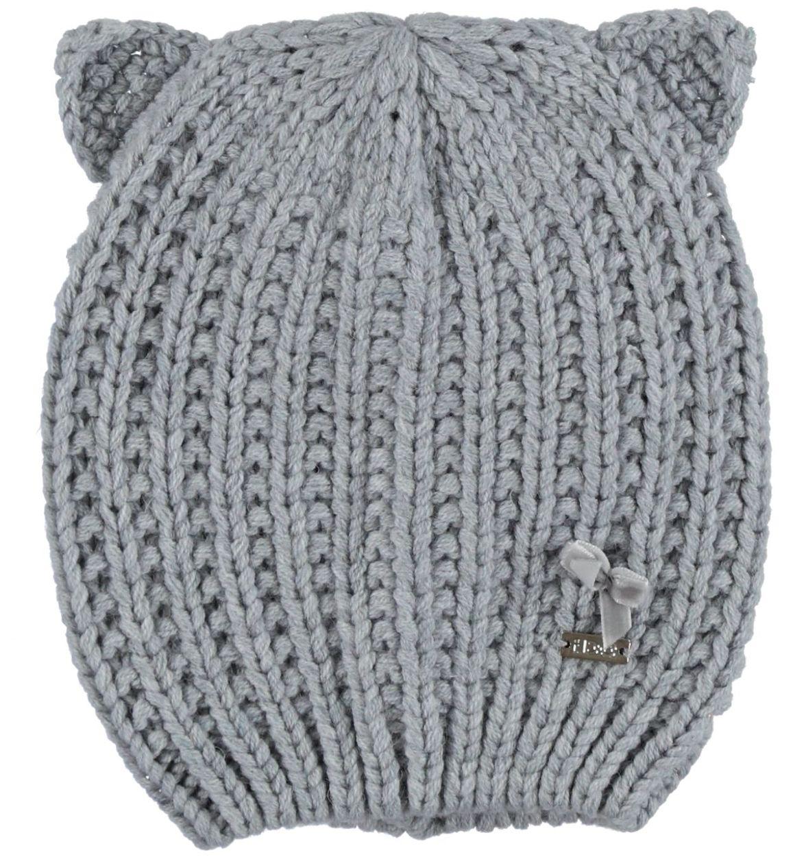 Cappellino con orecchie lavorazione a maglia inglese per bambina da ... c8570a3646e8