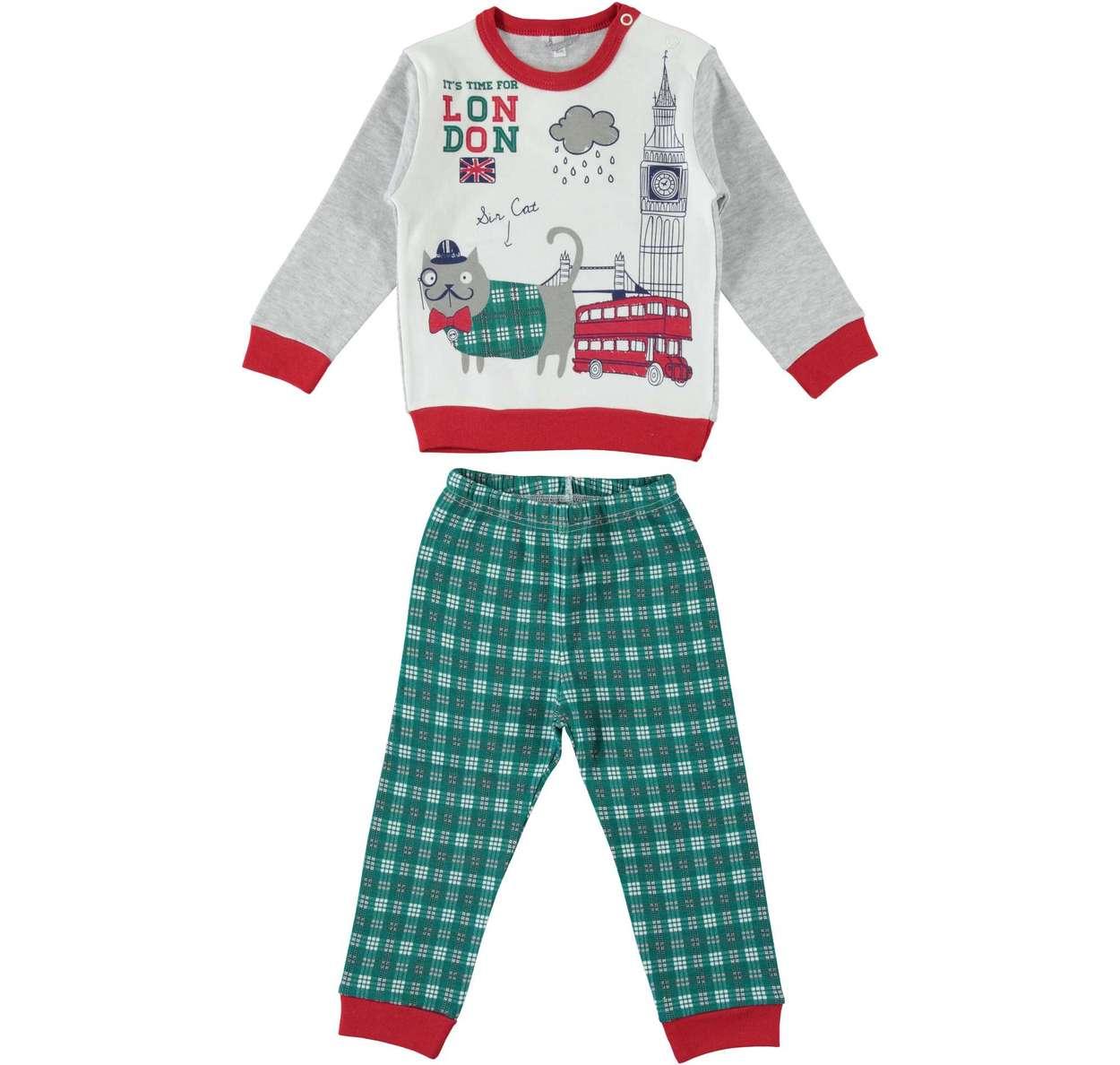 47fed1d8fa Pigiama per bambino stampa stile british con pantalone a quadretti da 6 a  36 mesi iDO