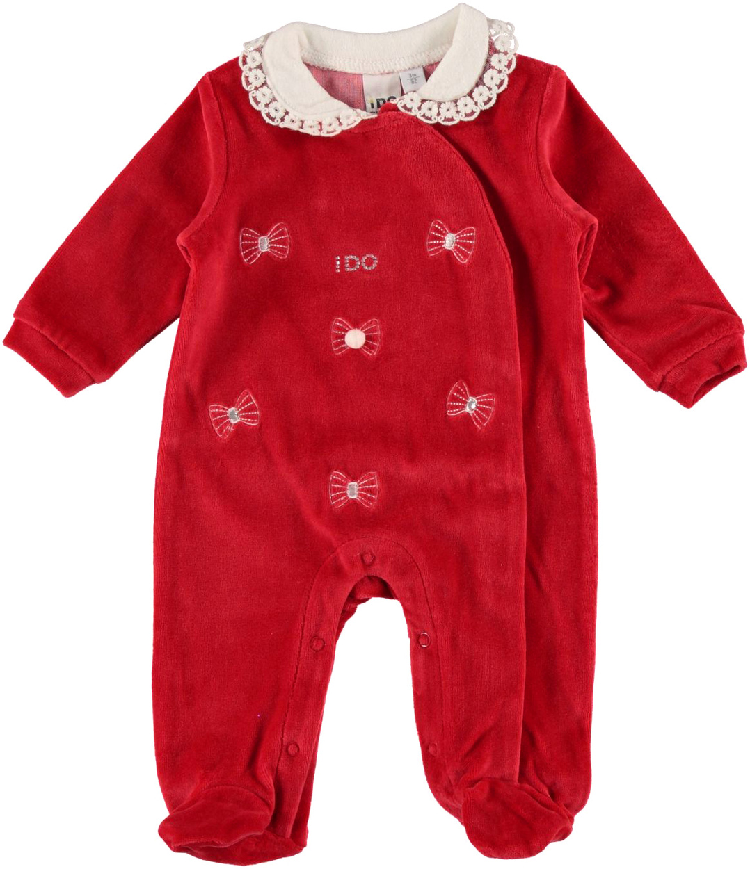 Tutina intera neonata in ciniglia di cotone con fiocchini ...