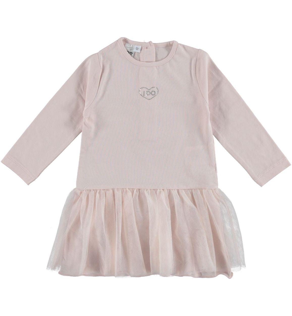 Vestitino bambina in jersey stretch con cuore di strass vestibilità da 6 a  36 mesi iDO f60bc8cc986