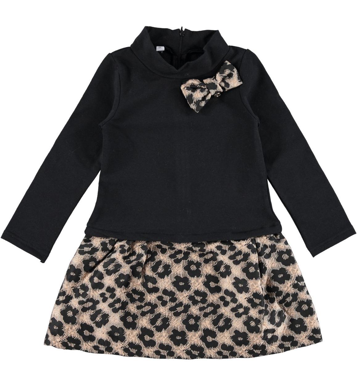 Vestito per bambina a manica lunga in felpa stretch garzata vestibilità da 3  a 16 anni iDO a5b79a45372