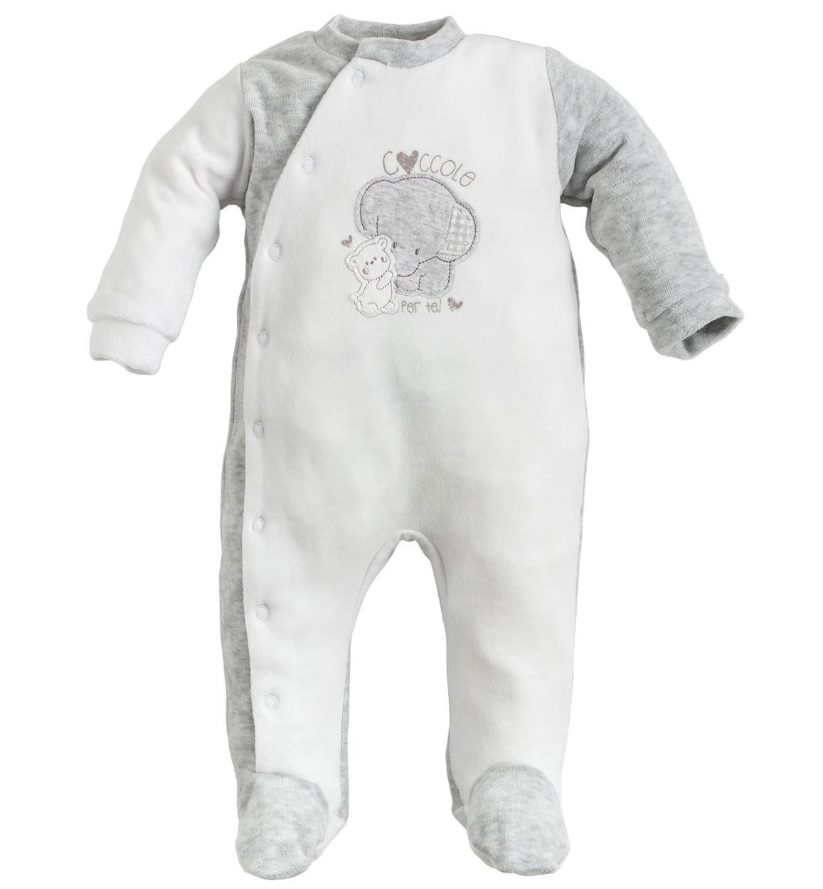 il più votato a buon mercato boutique outlet top design Tutina intera unisex in leggera ciniglia con piedini per neonati da 0 a 18  mesi iDO