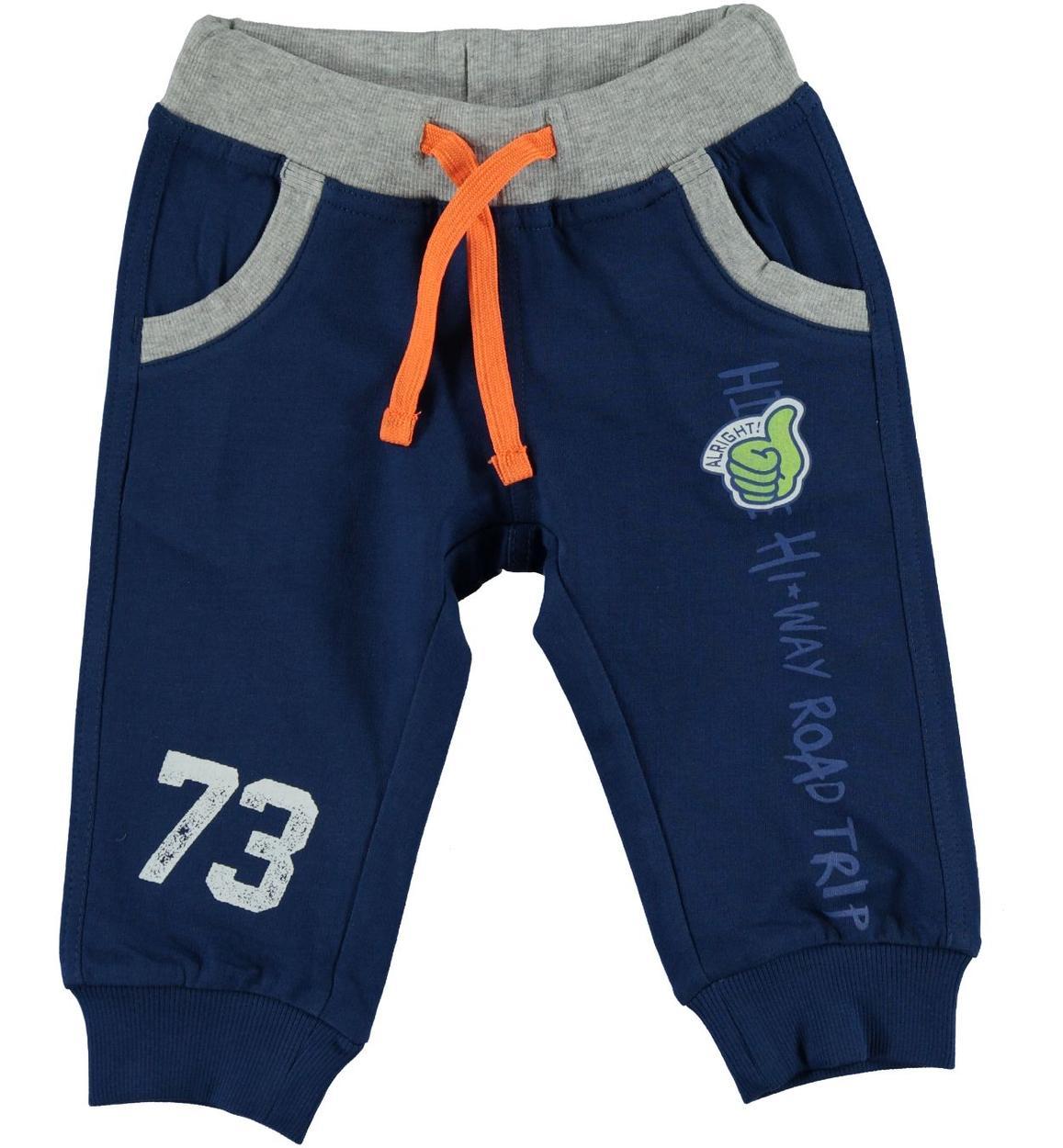 c4a5bb584c55 Pantalone sportivo in felpa leggera di cotone per bambino da 6 a 36 mesi iDO.  ROYAL-3735. BLU INDIGO-3647