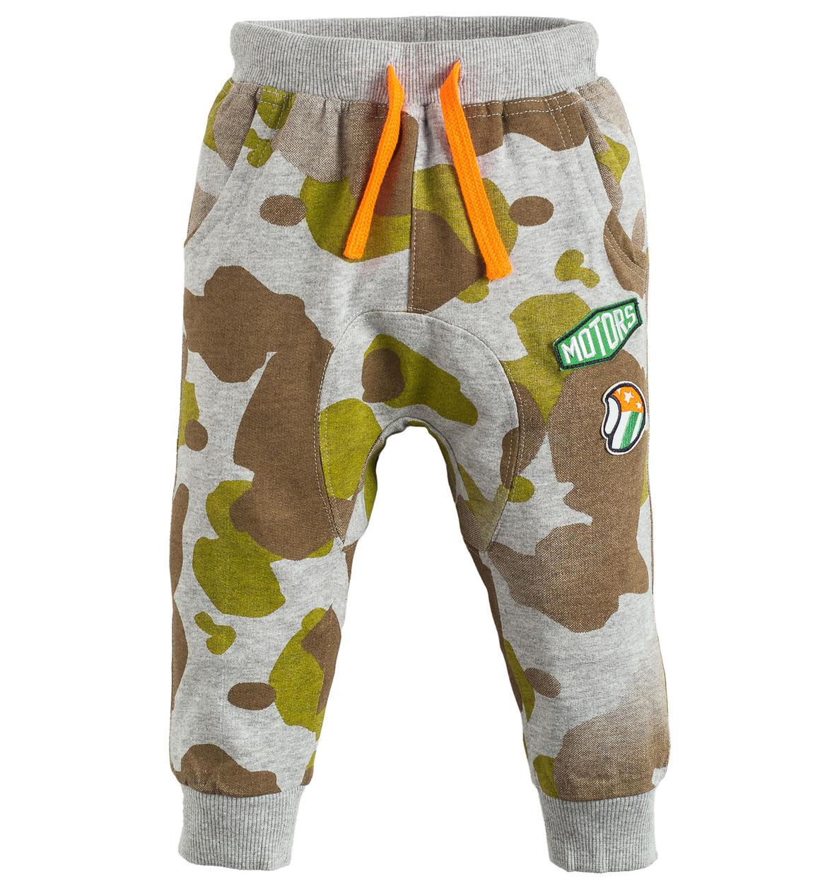 e33f862c5adc Pantalone lungo in felpa stampata 100% cotone per bambino da 6 a 36 mesi iDO