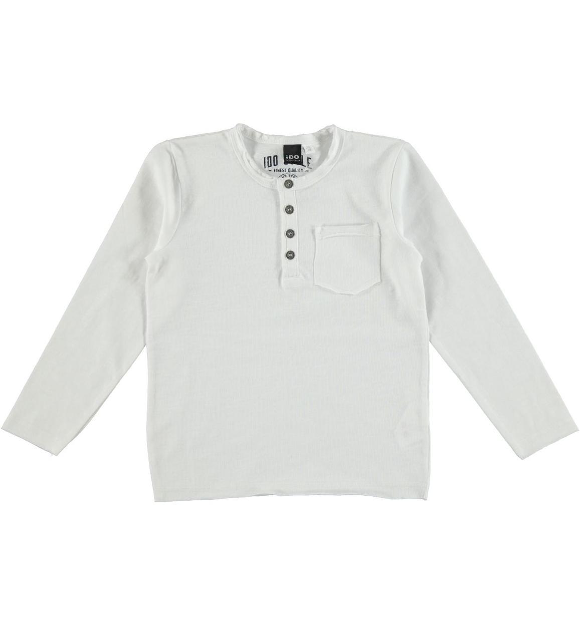 Maglietta girocollo 100% cotone modello serafino per bambino da 3 a 16 anni  iDO d5b536b17679