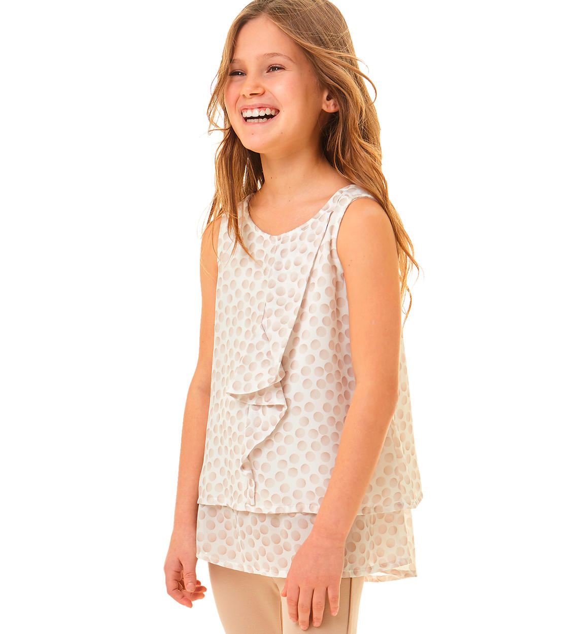 online store 64311 3bd1f Maxi camicia smanicato in morbido e leggere voile per bambina da 3 a 16  anni iDO