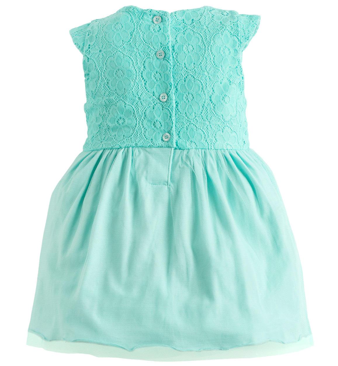 Vestiti Verde Tiffany Bambina.Vestitino Con Gioco Di Tessuti Tono Su Tono Per Bambina Da 6 A 36 Mesi Ido