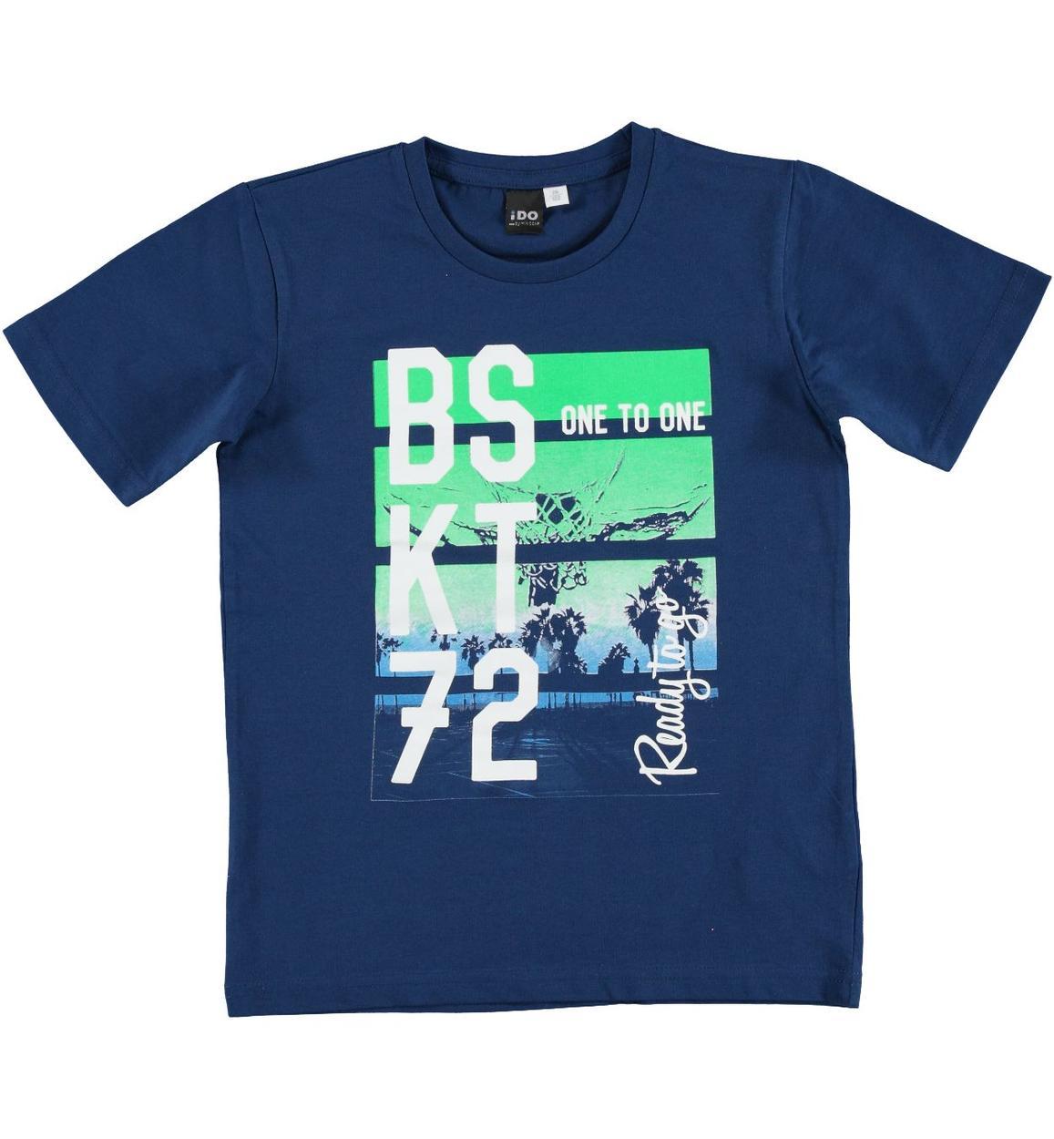 T-shirt 100% cotone ispirata al mondo del basket per bambino da 3 a 16 anni  iDO. BLU INDIGO-3647 3de7464d8892