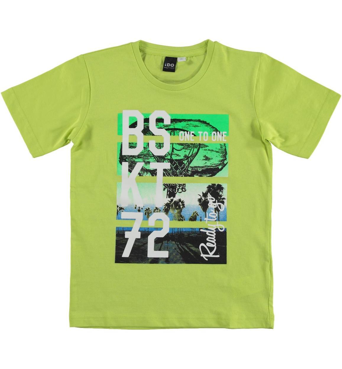 T-shirt 100% cotone ispirata al mondo del basket per bambino da 3 a 16 anni  iDO. BLU INDIGO-3647. BIANCO-0113. VERDE-5237 ca0e01c92880