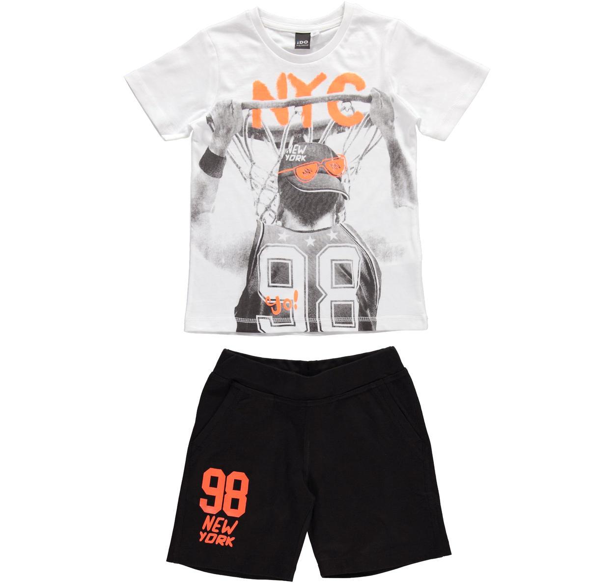 Completo 100% cotone con t-shirt stampa basket per bambino da 3 a 16 anni  iDO. VERDE-NERO-8376 back. BIANCO-NERO-8057 25b211b54f42