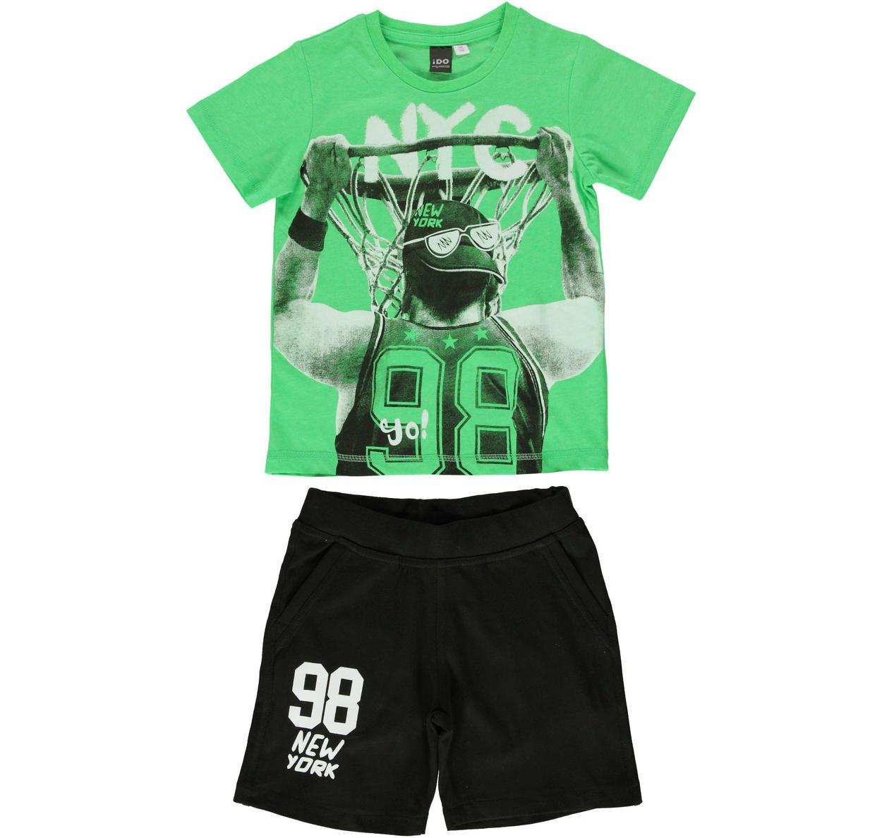 Completo 100% cotone con t-shirt stampa basket per bambino da 3 a 16 anni  iDO. VERDE-NERO-8376 back. BIANCO-NERO-8057. VERDE-NERO-8376 70c21326b54c