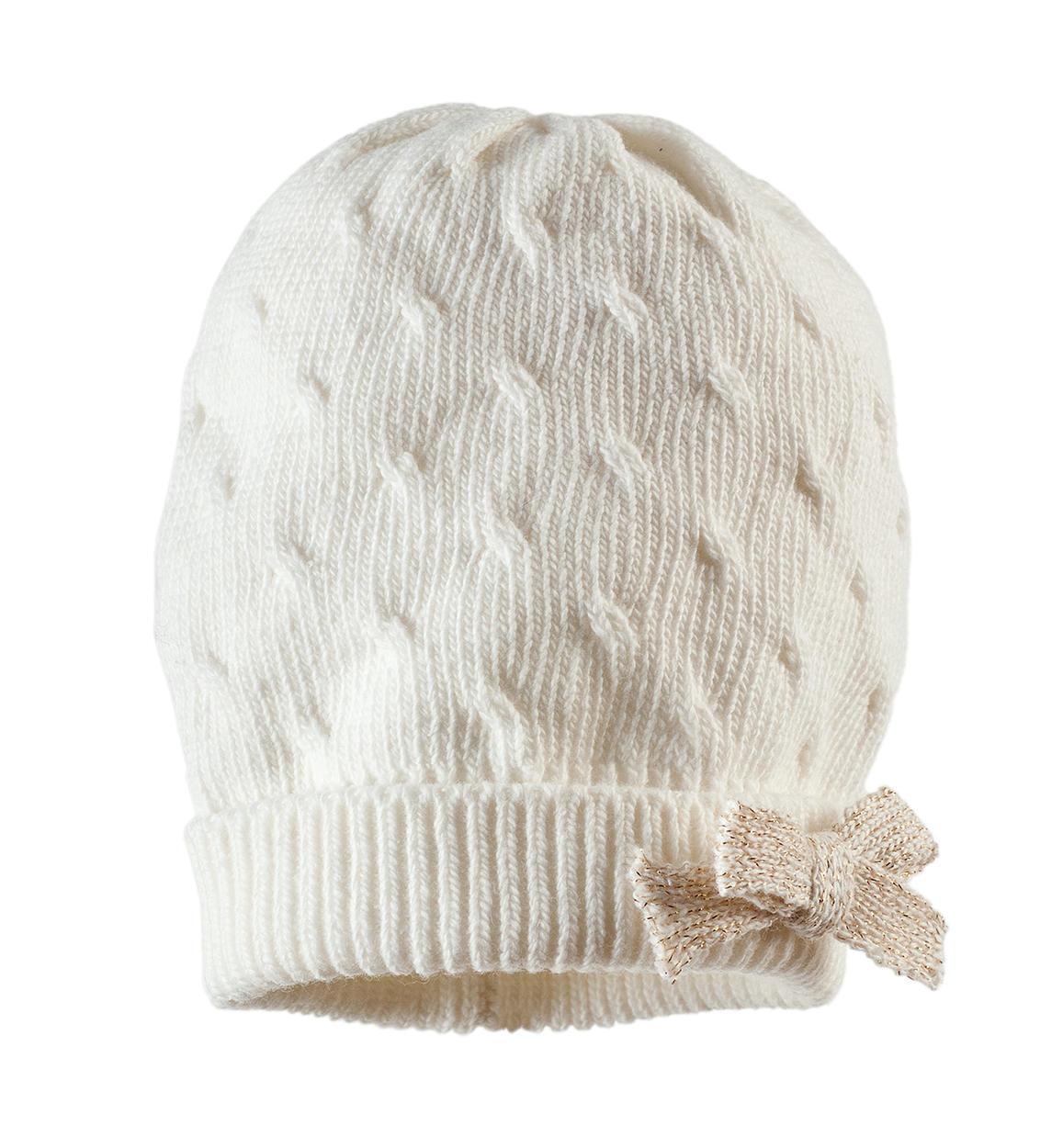 grandi affari sulla moda selezione speciale di miglior fornitore Cappello in tricot misto cotone con fiocco lurex per bambina da 0 a 18 mesi  iDO