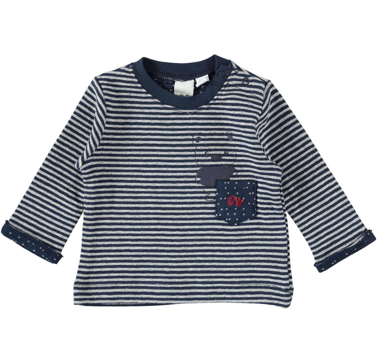 arrives df8dc 2b0ef Maglietta 100% cotone con taschino in tessuto a rovescio per neonato da 0 a  18 mesi iDO