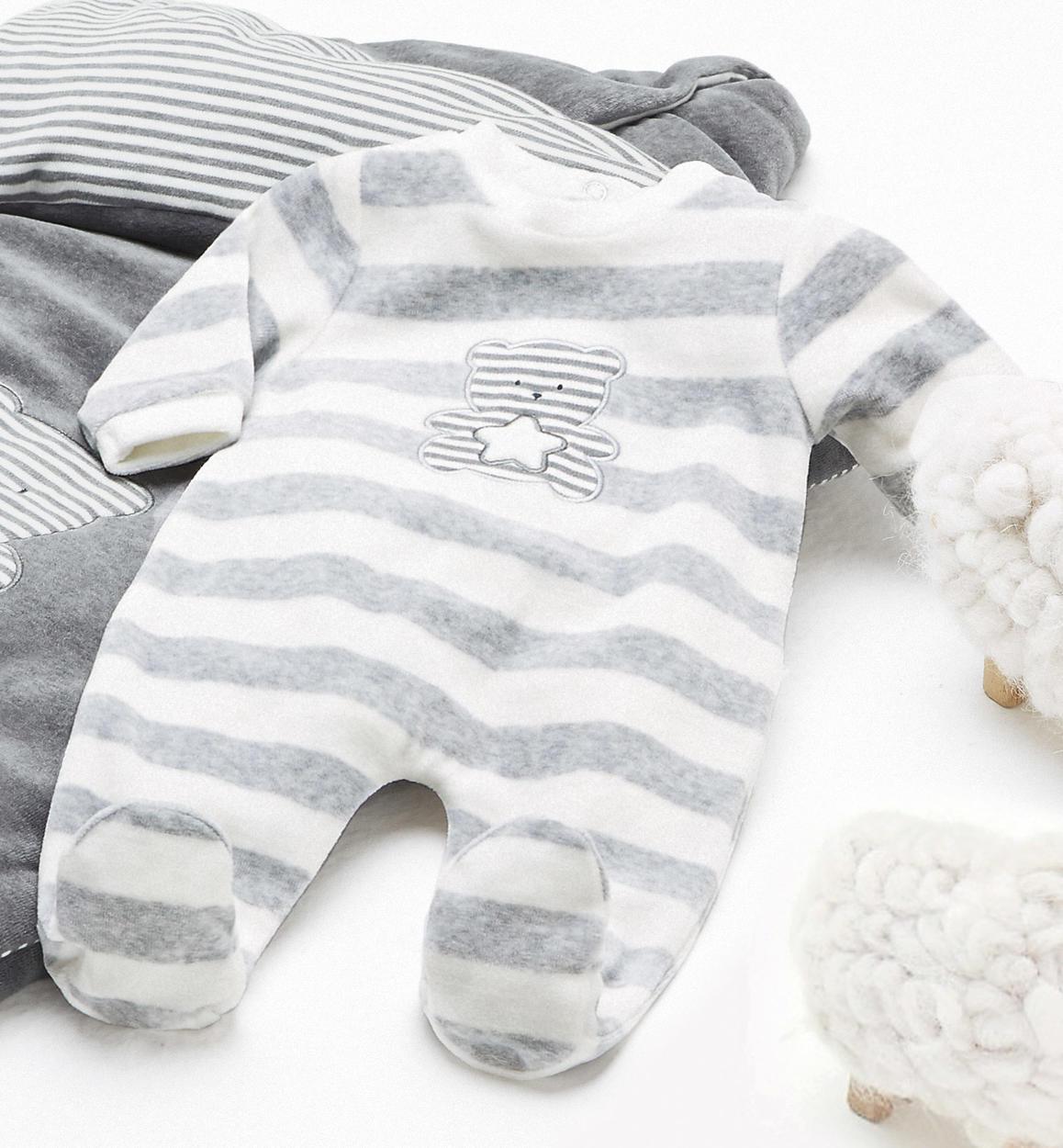prezzo basso in uso durevole cerca il meglio Tenerissima tutina intera in ciniglia con gioco di righe per neonati da 0 a  18 mesi iDO