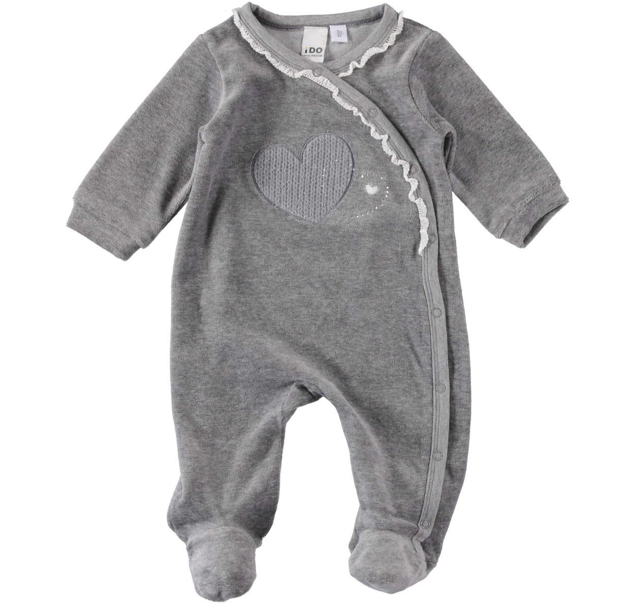 Tutina intera in ciniglia di cotone a maniche lunghe per neonata da ...