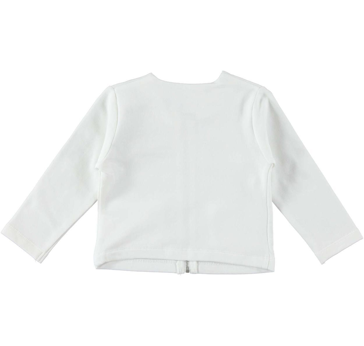 Giacchina in felpa di cotone con fiori lurex per bambina da 6 a 36 mesi iDO
