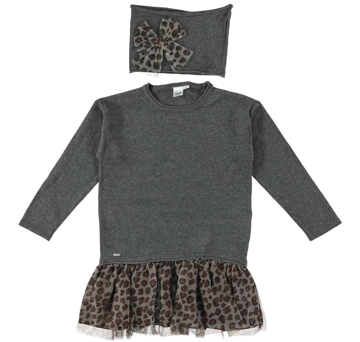 eab6f7ebcb5f Mini abito bambina misto cotone e lana vestibilità da 3 a 16 anni ...